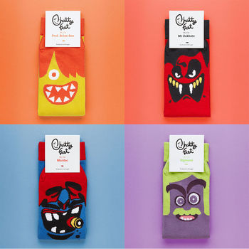 Set Of Four Funny Character Socks