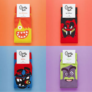 Set Of Four Funny Character Socks - men's