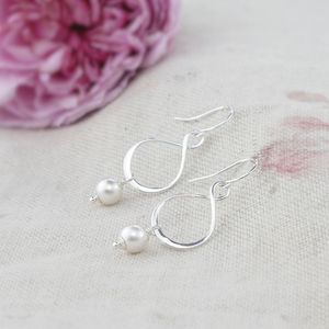 Aida Ivory Pearl And Sterling Silver Earrings