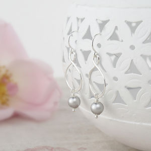 Aida Grey Pearl And Sterling Silver Earrings - earrings