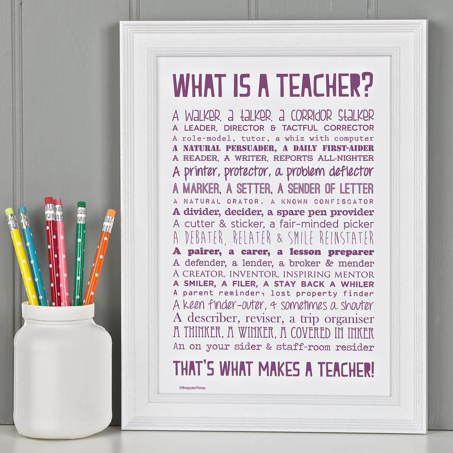 Personalised Teacher Print With Teacher Poem