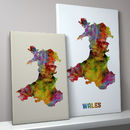 Wales Map Watercolour Print