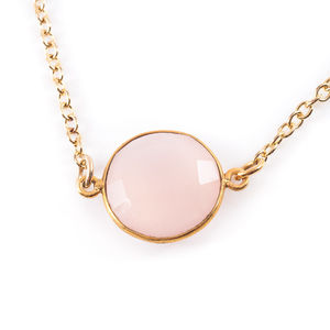 Pink Chalcedony Charm Necklace - women's jewellery