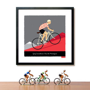 King Of The Mountains Personalised Cycling Print - posters & prints