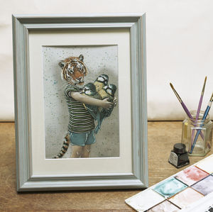 A Tiger With Birds Illustration Print