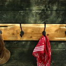 Driftwood Style Coat Rack With Cast Iron Hooks