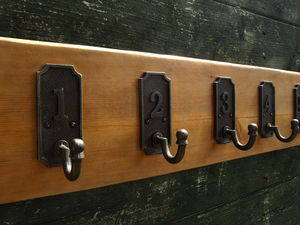 Vintage Wooden Coat Rack With Numbered Cast Iron Hooks