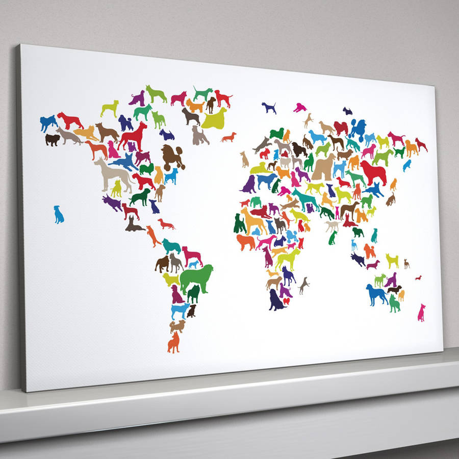 Dogs world map art print by artpause notonthehighstreet multi coloured canvas gumiabroncs Gallery