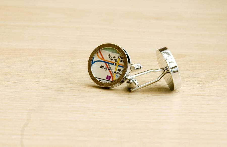 Subway Map Cufflinks.New York Subway Map Cufflinks