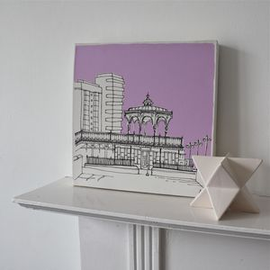 Brighton And Hove Bandstand Original Canvas Art - architecture & buildings