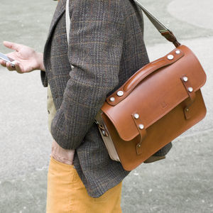 Luxury Handmade Leather Briefcase Satchel