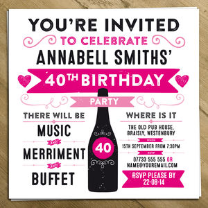 Personalised Birthday Party Invite