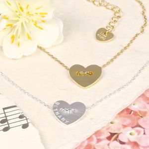 Personalised Button Heart Necklace - necklaces & pendants