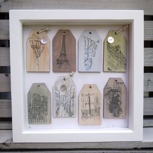 Box Framed Paris Wooden Labels - mixed media & collage