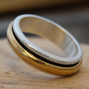 Sterling Silver And Gold Spin Ring - rings