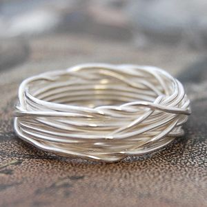 Sterling Silver Interwoven Wire Ring - rings