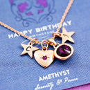 Mixed Charm Birthstone Necklace On Gift Card