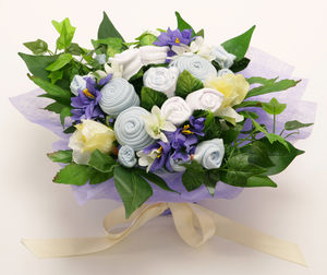 Blue Baby Clothes Gift Bouquet - baby shower gifts