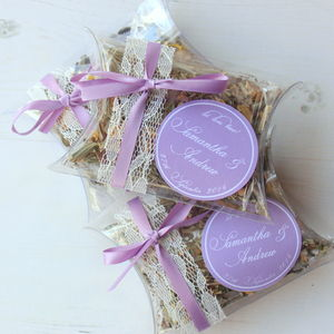 Set Of Three Personalised Wedding Favour Tea Pillows