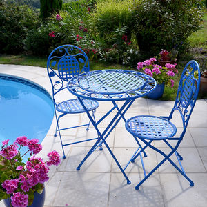 Biarritz Bistro Set, Garden Table And Chairs In Azure