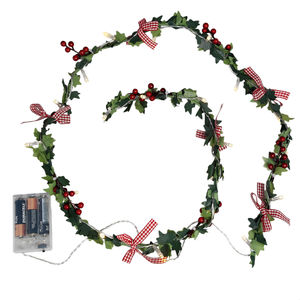 Holly Berries And Ivy Christmas Garland Lights