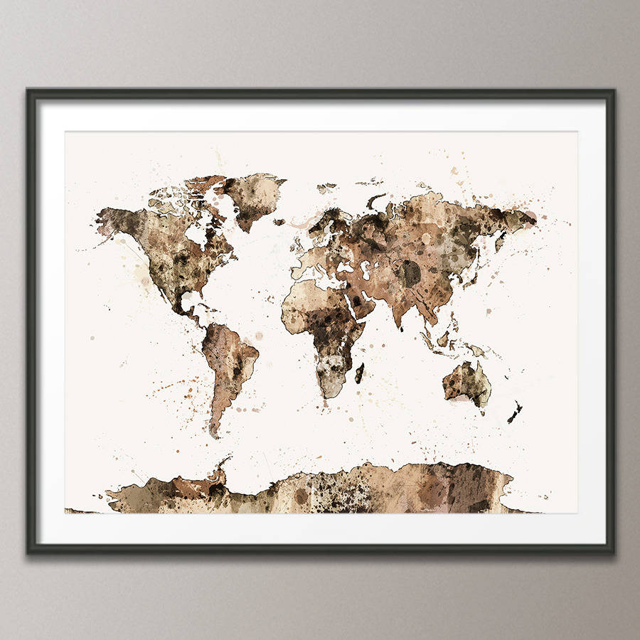 World map watercolour sepia art print by artpause art print poster frame not included gumiabroncs Image collections