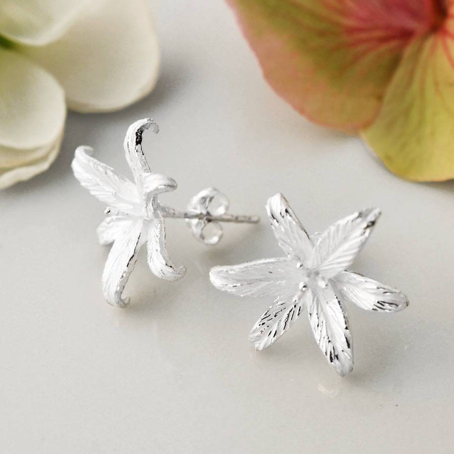 Silver Lily Flower Star Stud Earrings By Martha Jackson Sterling