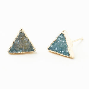 Semi Precious Triangle Stud Earrings - earrings