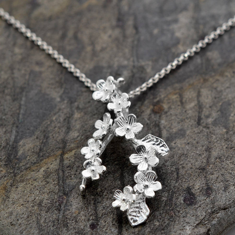 Silver Forget Me Not Cluster Necklace