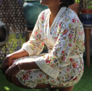 Summer Bouquet Kimono Dressing Gown - fashion