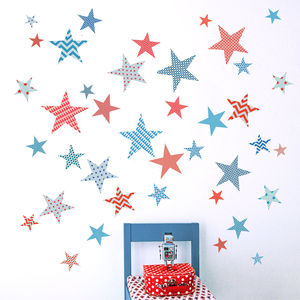 Children's Patterned Star Wall Stickers - children's room accessories