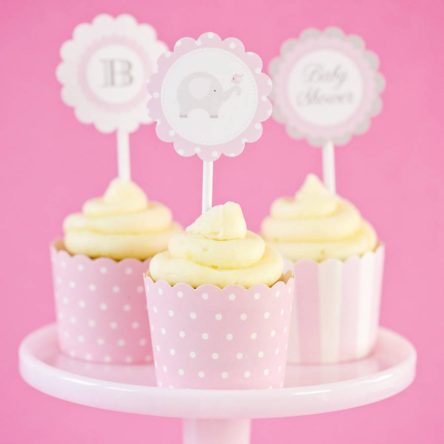 Baby Shower Pink Cupcake Toppers By Feather Grey Parties