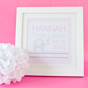 Baby Girl Personalised Print