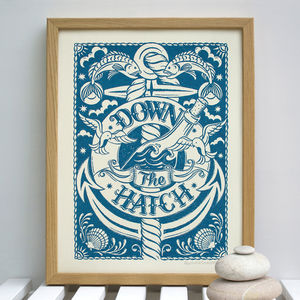 Down The Hatch Nautical Print - shop by subject
