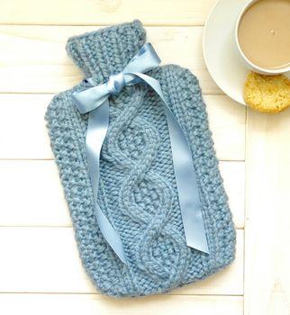 Handknit cable Hottie Pastel Blue