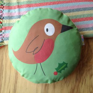Christmas Robin Cushion - bedroom
