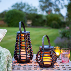Set Of Two Rattan Solar Lanterns - outdoor lights