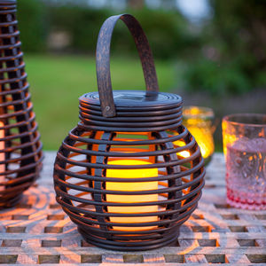 Round Solar Rattan Lantern Light - lights & lanterns