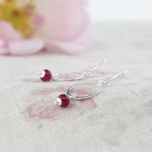 Aida Pink Jade And Sterling Silver Earrings - earrings
