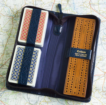 Travelling Cribbage Set In Real Leather Case