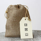 Hessian Drawstring Bag - cards