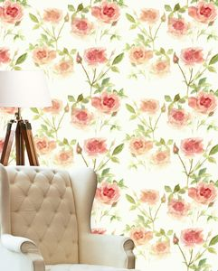 Spring Rose Peach Wallpaper - home decorating