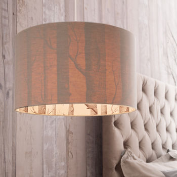 Woods Silhouette Linen Lampshade In Oatmeal