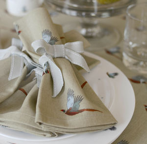 Set Of Four Pheasant Napkins