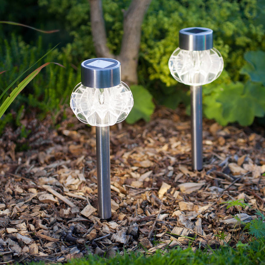 Set Of Four Solar Stake Lights By Lights4fun