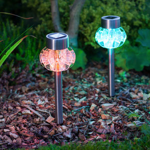 Set Of Four Colour Changing Solar Stake Lights - lights & lanterns