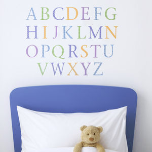 Childrens Alphabet Wall Stickers Upper And Lower Pastel