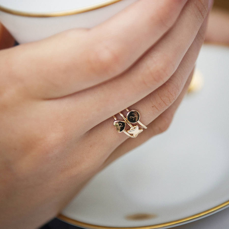 Women S Personalised Initial Stacking Rings By Merci Maman