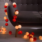 Cotton Ball String Lights - christmas decorations