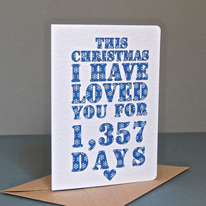 Personalised Christmas Days I've Loved You Card